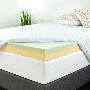Zinus 4 Inch Green Tea Memory Foam Mattress Topper, Queen