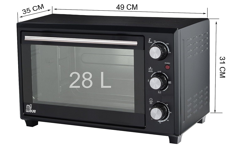MyWave - Horno Multifunción de Convección y Rustipollo 1600 W, capacidad de 28 L, Mini horno de sobremesa, con temporizador y 6 niveles de calentamiento, ...