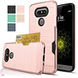 LG G5 Case,AnoKe [Credit Card Slots Holder][Not Wallet]Hard Plastic PC TPU Soft Hybrid Shockproof Heavy Duty Protective Cover Case For LG G5 KC2 Rose Gold Newest