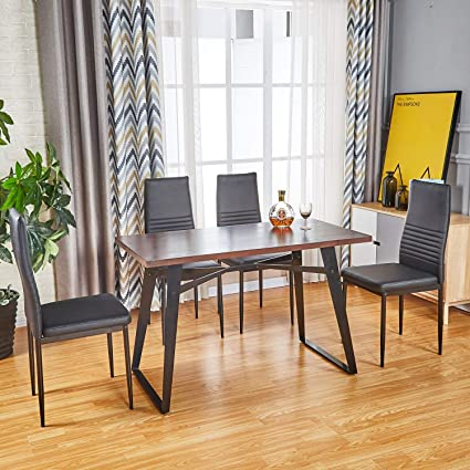 Modern Dining Table Dining Chair for Customized Combination | 1 Kitchen  Room Table / 4 Black Chairs / 5pcs Table Set, Industrial Rectangle Table PU  ...