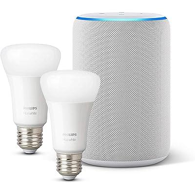 Amazon Echo (3.ª generación), tela de color gris claro + Philips Hue White Pack de 2 bombillas LED inteligentes, compatible con Bluetooth y Zigbee, no se requiere controlador