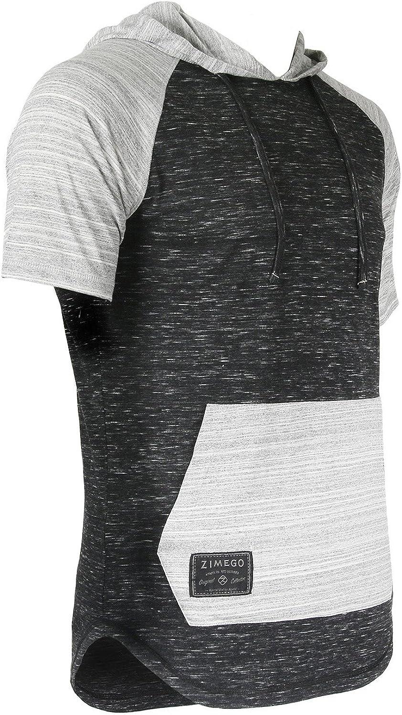 ZIMEGO Mens Color Block Short Sleeve Pullover Pocket Hiphop Thin Hoodie Shirt