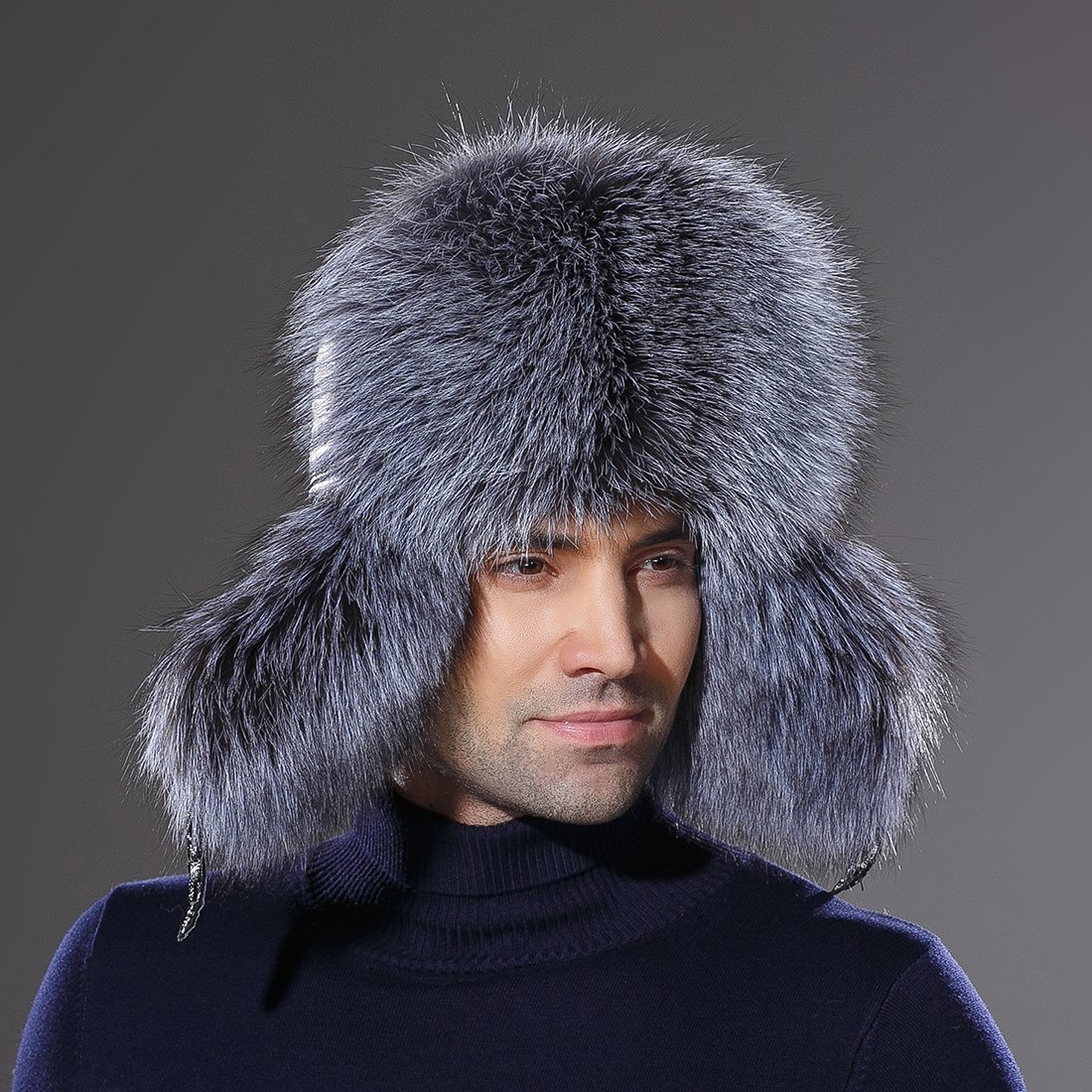 URSFUR Winter Mens Trapper Hat Real Leather Silver Fox Fur Russian Ushanka Cap by URSFUR (Image #7)
