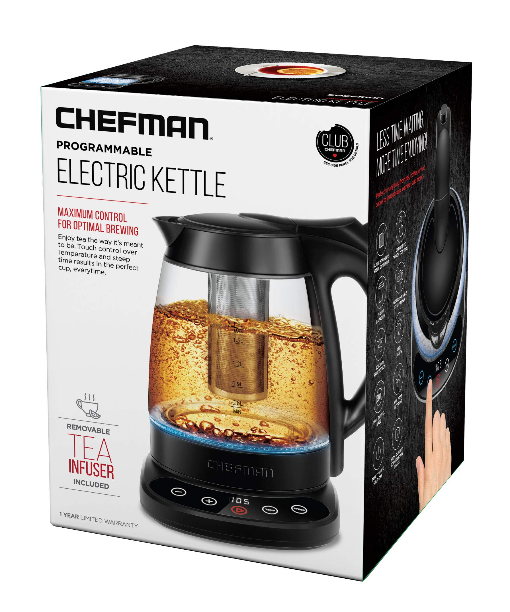 Chefman Programmable Electric Kettle Digital Display Removable Tea Infuser Included, Cool Touch Handle, 360° Swivel Base, BPA Free, 1.7 Liter/1.8 Quart by Chefman (Image #6)