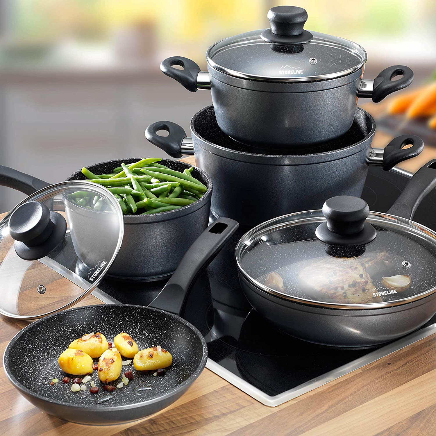 STONELINE 6588 Cookware set with glass lids set of 8 , 23.23 x 8.46 x 14.76 , Anthracite