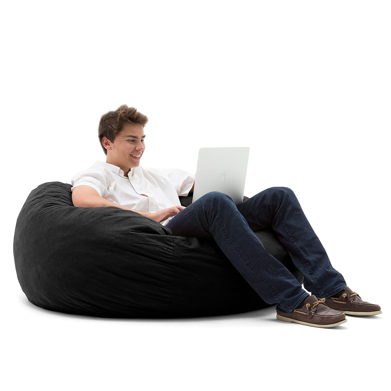 Big Joe Large Fuf Foam Filled Bean Bag Chair Comfort Suede Black Onyx