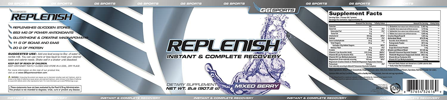 Amazon.com: G6 Sports Nutrition Replenish Instant & Complete Recovery (Post Workout Formula, 11g of BCAAs & EAAs, 20g Whey Protein, 1000mg Creatine ...