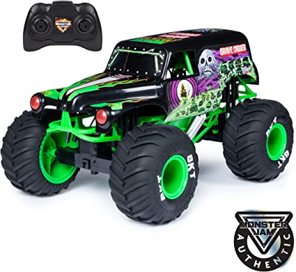Amazon Com Monster Jam Official Grave Digger Remote Control Monster Truck 1 10 Scale With Lights And Sounds For Ages 4 And Up Toys Games