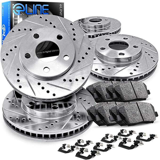2010 2011 2012 Fits Hyundai Santa Fe Black Slot Drill Rotor w//Ceramic Pads F