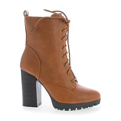 ffd767da838 Lace Up Lug Sole Platform Block High Heel Combat Boots