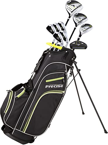 Quality Men s Right Handed Complete Golf Club Set Includes 460cc Driver, 3 Wood, 21 Hybrid, 6, 7, 8, 9, PW Irons, Putter, Deluxe Stand Bag 3 Headcovers