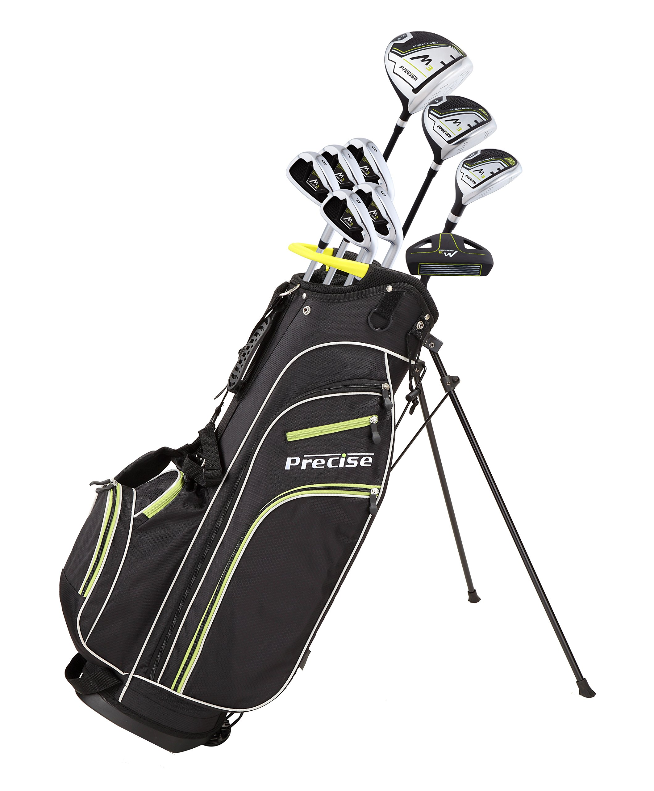 Quality Men's Right Handed Complete Golf Club Set Includes: 460cc Driver, 3 Wood, 21 Hybrid, 6, 7, 8, 9, PW Irons, Putter, Deluxe Stand Bag & 3 Headcovers by Precise