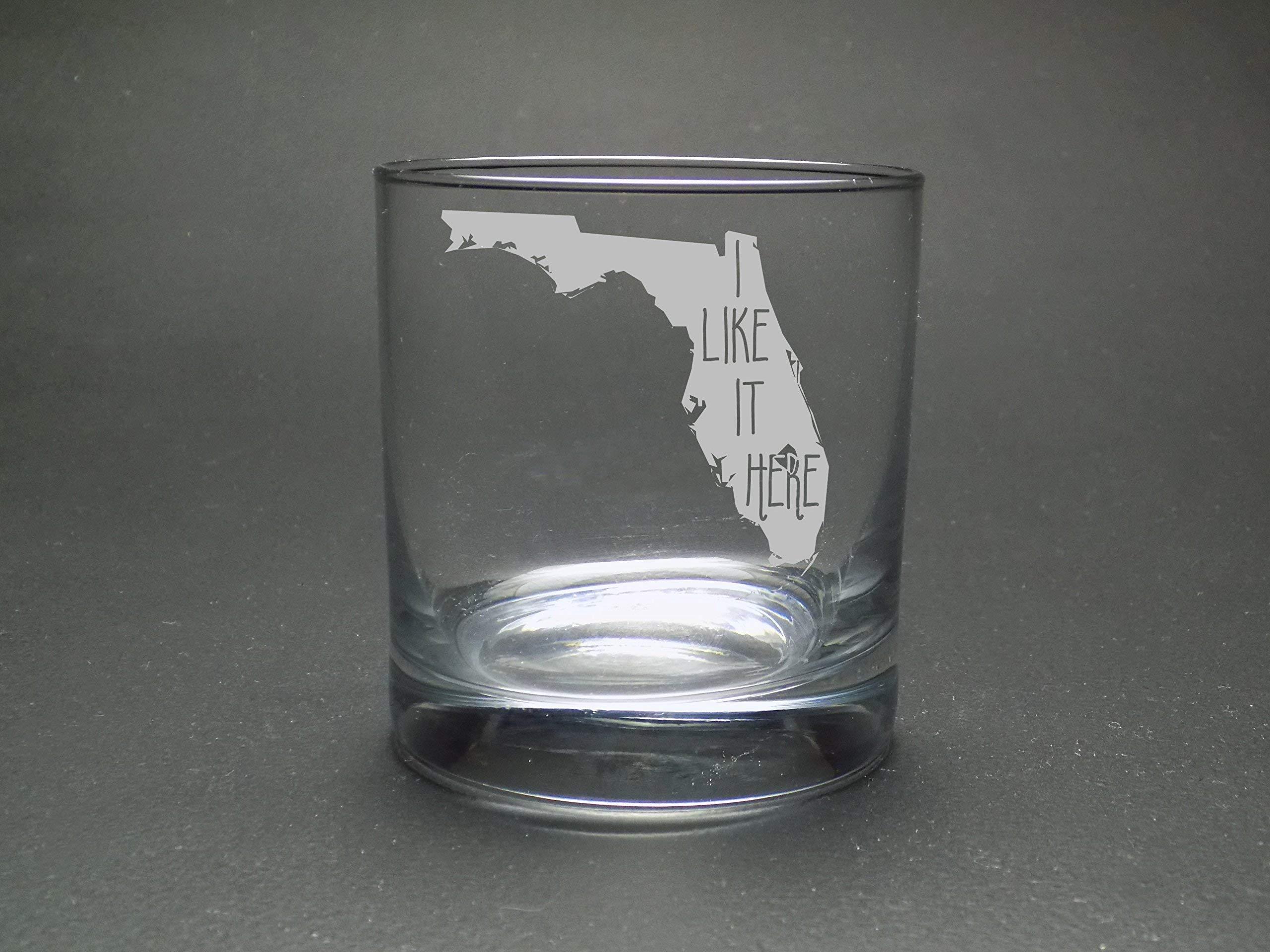 Florida I Like It Here Rocks Glass - Home Rocks Glass - Moving Gift - Housewarming Gift - Graduation Gift - Florida Rocks Glass