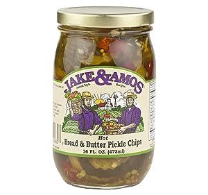 Jake & Amos Hot Bread & Butter Pickle Chips 16 Oz. (3 Jars)