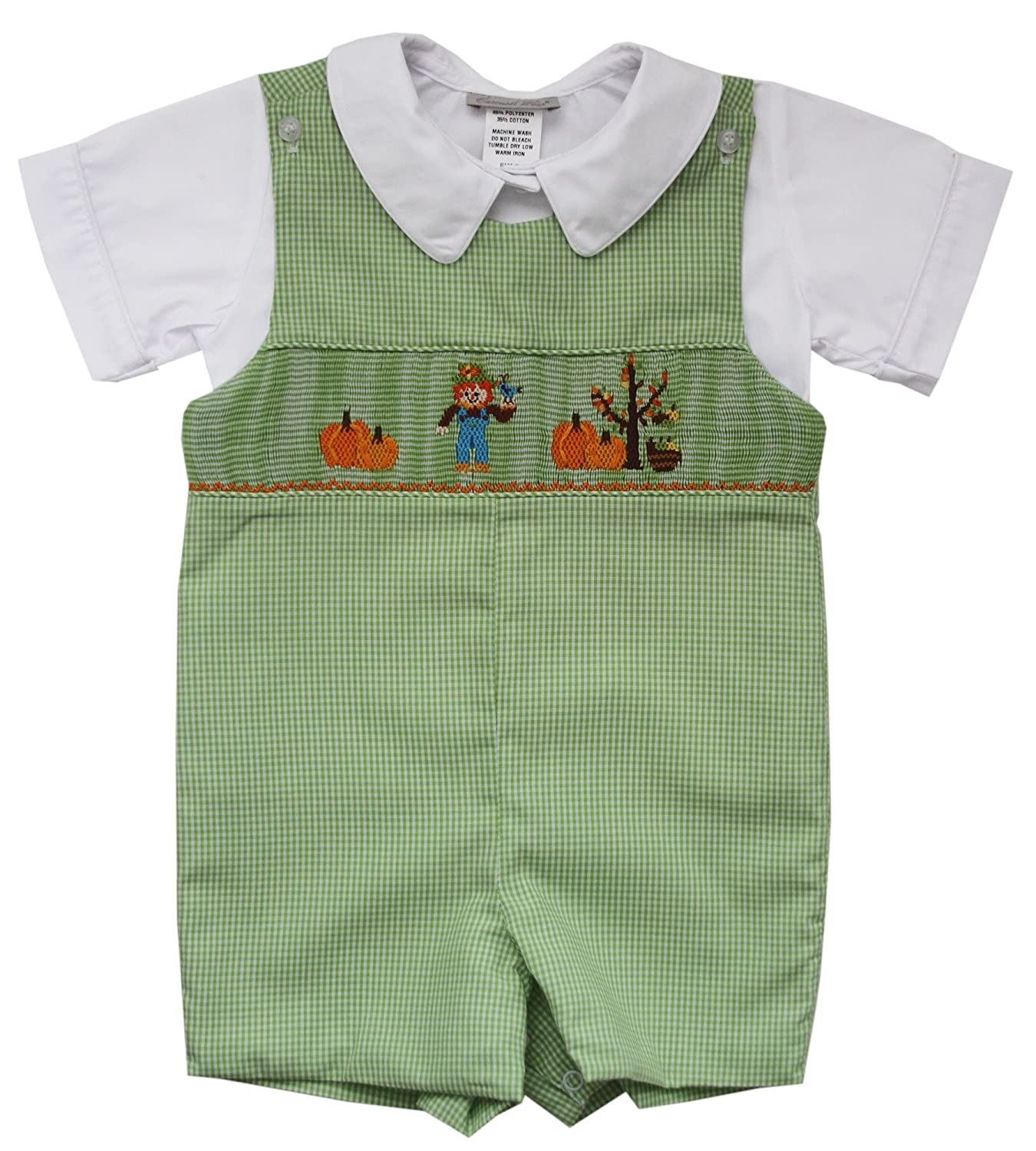 Carouselwear Boys Thanksgiving Shortall with Smocked Scarecrow and Pumpkins