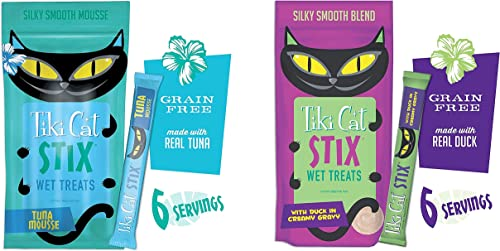 Tiki Cat Stix 6ct Single Serve Pouches – Tuna Mousse and Chicken Mousse 2 Pack