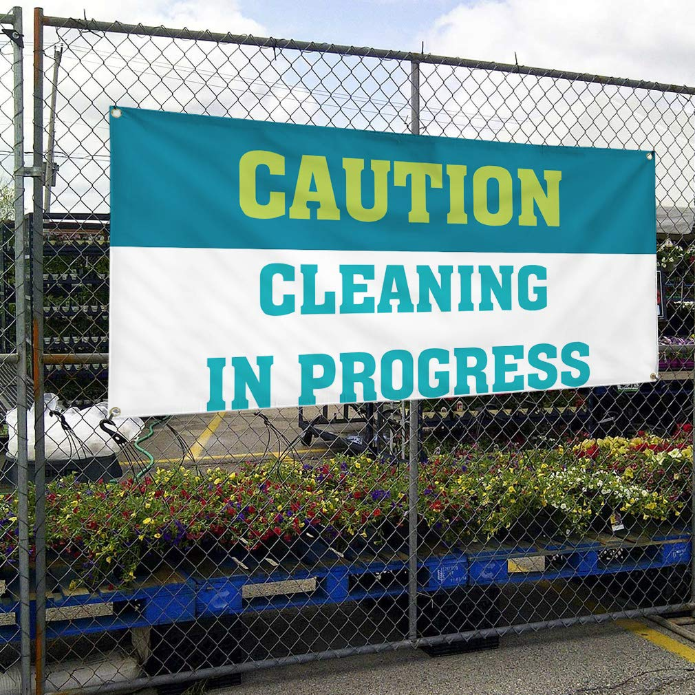 Set of 3 24inx60in 4 Grommets Vinyl Banner Sign Caution Cleaning in Progress Outdoor Marketing Advertising Blue Multiple Sizes Available