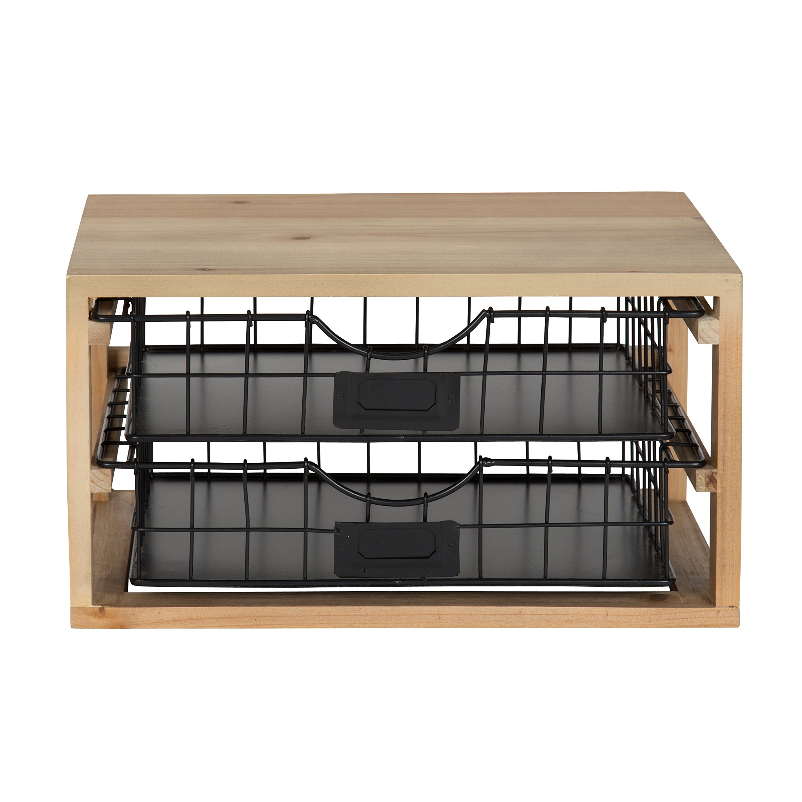 Kate and Laurel Tanner Rustic Wood and Metal Desktop Drawer Organizer Letter Tray by Kate and Laurel (Image #2)