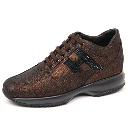 E4262 sneaker donna nero/rame HOGAN INTERACTIVE scarpe H strass shoe woman