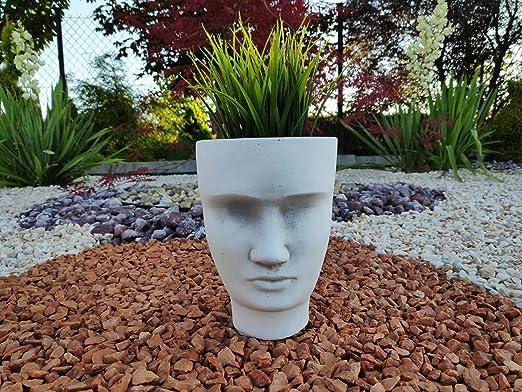 Adorno de piedra para jardín maceta peculiar Cara de hombre: Amazon.es: Jardín