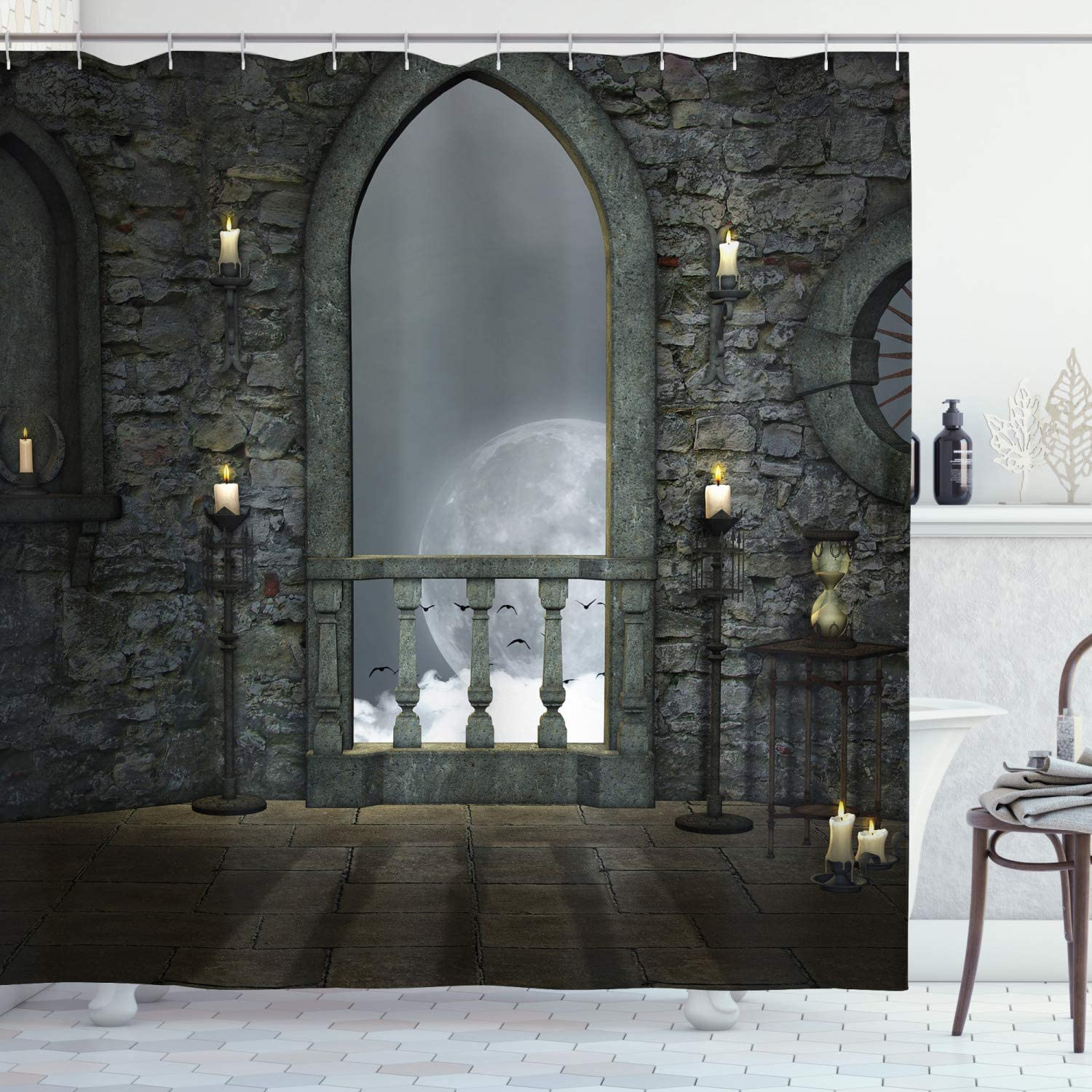 Ambesonne Gothic Shower Curtain, Full Moon Birds Fairytale Fantasy Old Castle Balcony Burning Candle Night View Art, Cloth Fabric Bathroom Decor Set with Hooks, 70