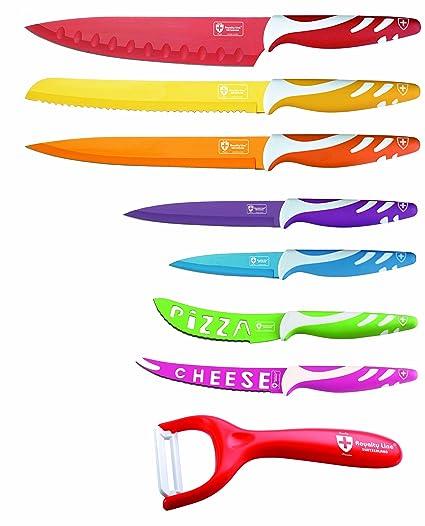Cenocco - Juego de 8 cuchillos afilados de cocina, colores variados