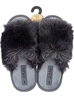 LADIES WOMEN  FUR FLAT SLIP ON MULE PEEK TOE SLIPPERS size 3 to 8