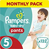 Pampers Baby-Dry 132 Nappy Pants, Monthly Pack, 11 - 18 kg, Size 5