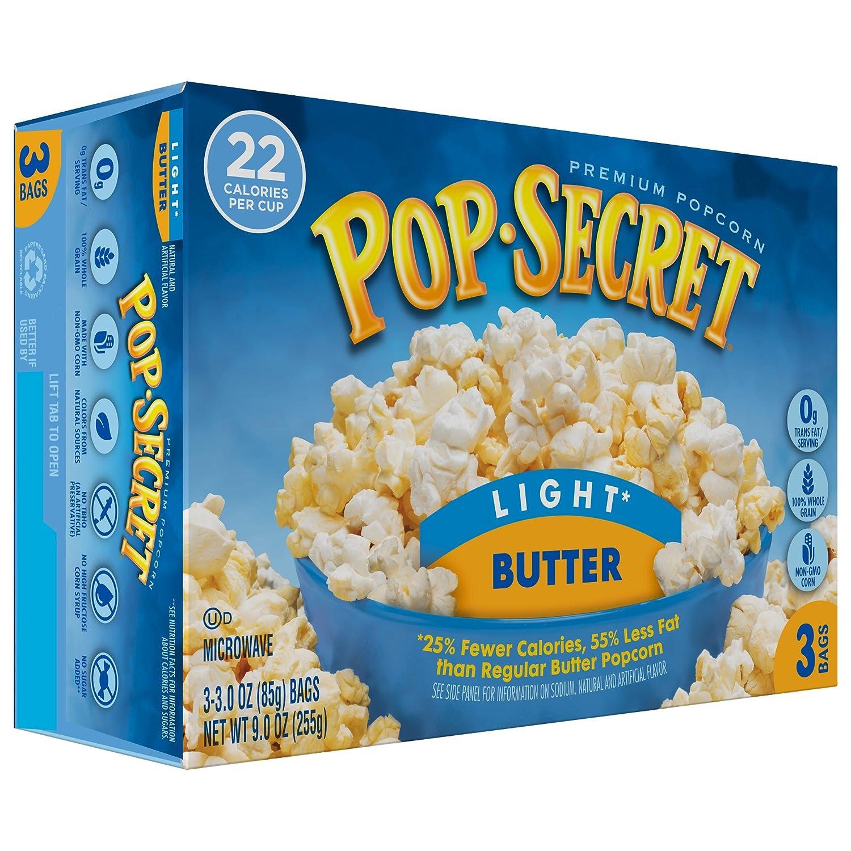 Amazon.com: Pop Secret Popcorn, Light Butter, 3 Ounce Microwave Bags, 3 Count: Prime Pantry