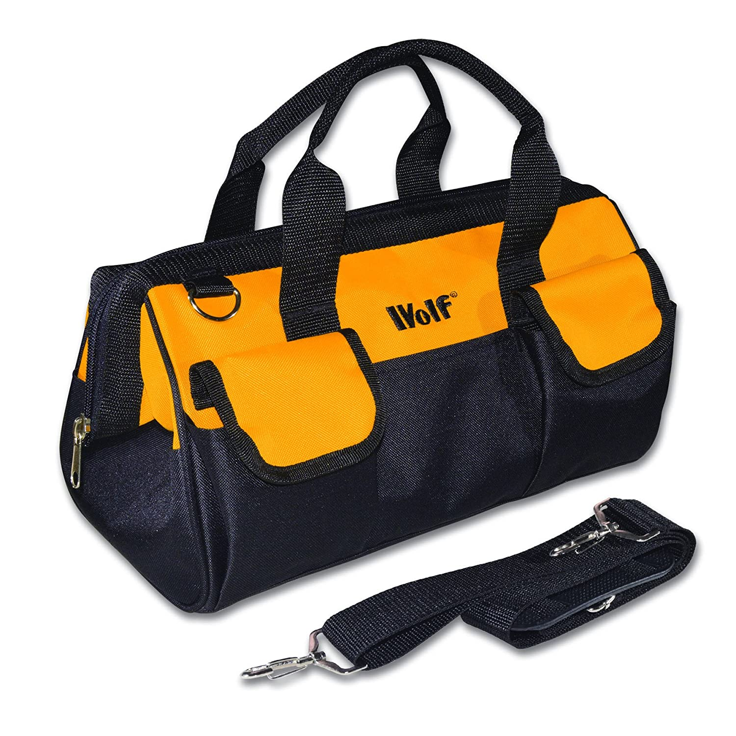 Wolf Heavy Duty Strong Medium Tool Bag Storage Multi Purpose With External Pockets Internal Pouches Shoulder Strap Zip Closing Amazoncouk DIY