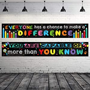 2 Pack Motivational Classroom Banner Poster Positive Banner Inspirational Banner for Students Educational Teacher Classroom Decorations Banner with 40 Glue Points (Black)