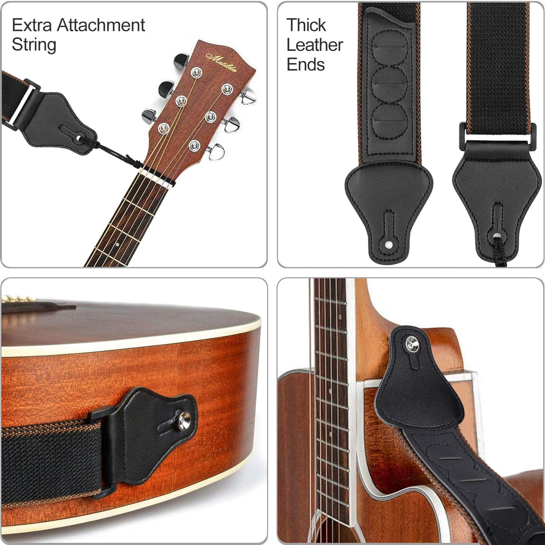 Correa para Guitarra Ajustable Correa de Suave de Algodón y Extremos de Cuero PU Correas de Guitarra con 3 Soportes de Púas de Guitarra, para Guitarra Eléctrica y Acústica Bajo (Negro): Amazon.es: