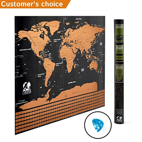 Amazon scratch off travel world map laminated poster with us scratch off travel world map laminated poster with us states perfect gift for traveler gumiabroncs Image collections
