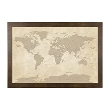 Push Pin Travel Maps Vintage World with Rustic Brown Frame and Pins - 27.5 inches x 39.5 inches