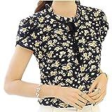 SDHEIJKY Women Chiffon Flower Print Blusas Feminina Short Sleeve Stand Collar Shirts