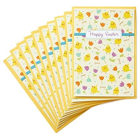 Hallmark Pack of Easter Cards, Chicks and Flowers with Envelopes