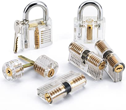 2 Key UK Seller Fast Ship Clear transparent Practice Training Padlock