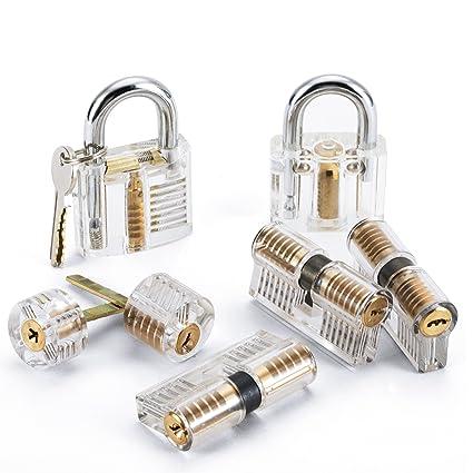 LUWANZ 7pcs Transparent Locks Practice Lock Set Visible