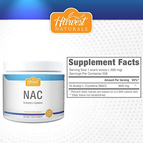 N-Acetyl L-Cysteine NAC Powder – Powerful Antioxidant Precursor – 125 Grams- Harvest Naturals
