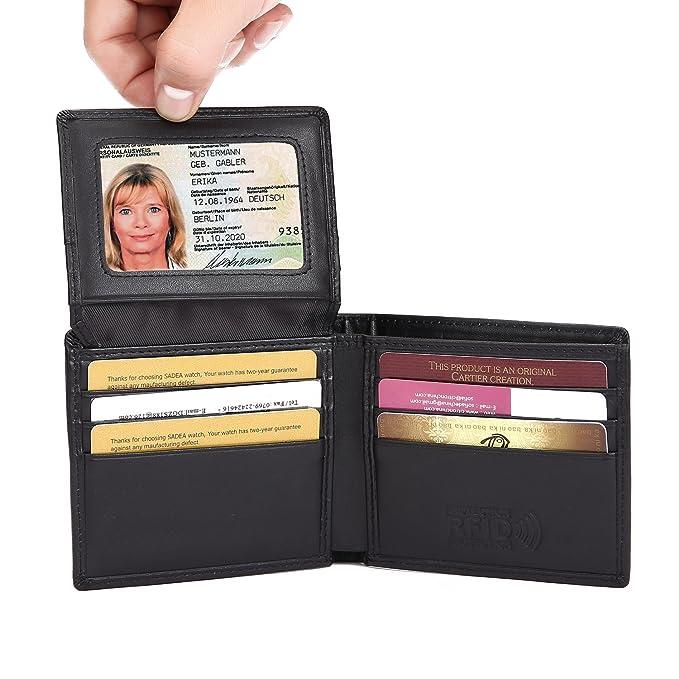 Itslife Hombres plegable RFID bloqueo de la tarjeta de crédito Cartera de cuero: Amazon.es: Equipaje