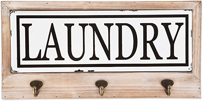 DII Vintage Farmhouse Style Tiled Sign with Hooks, Laundry