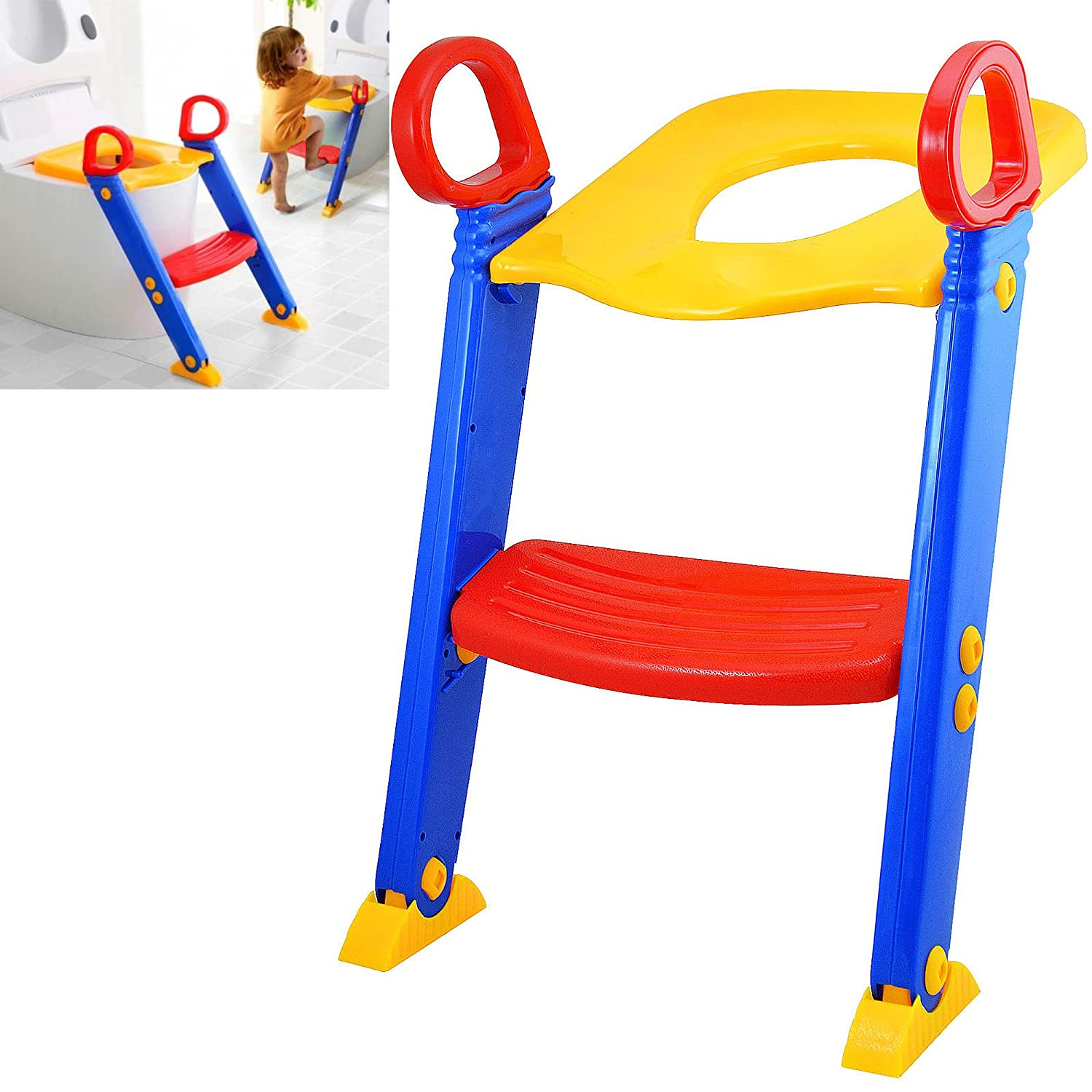 BABY TODDLER SAFETY POTTY TRAINING LADDER STEP TOILET SEAT LOO TRAINER SYSTEM UK Fusion