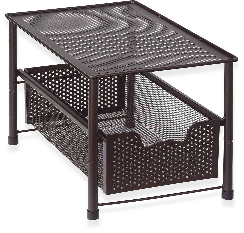 SimpleHouseware Stackable Under Sink Cabinet Sliding Basket Organizer Drawer, Bronze