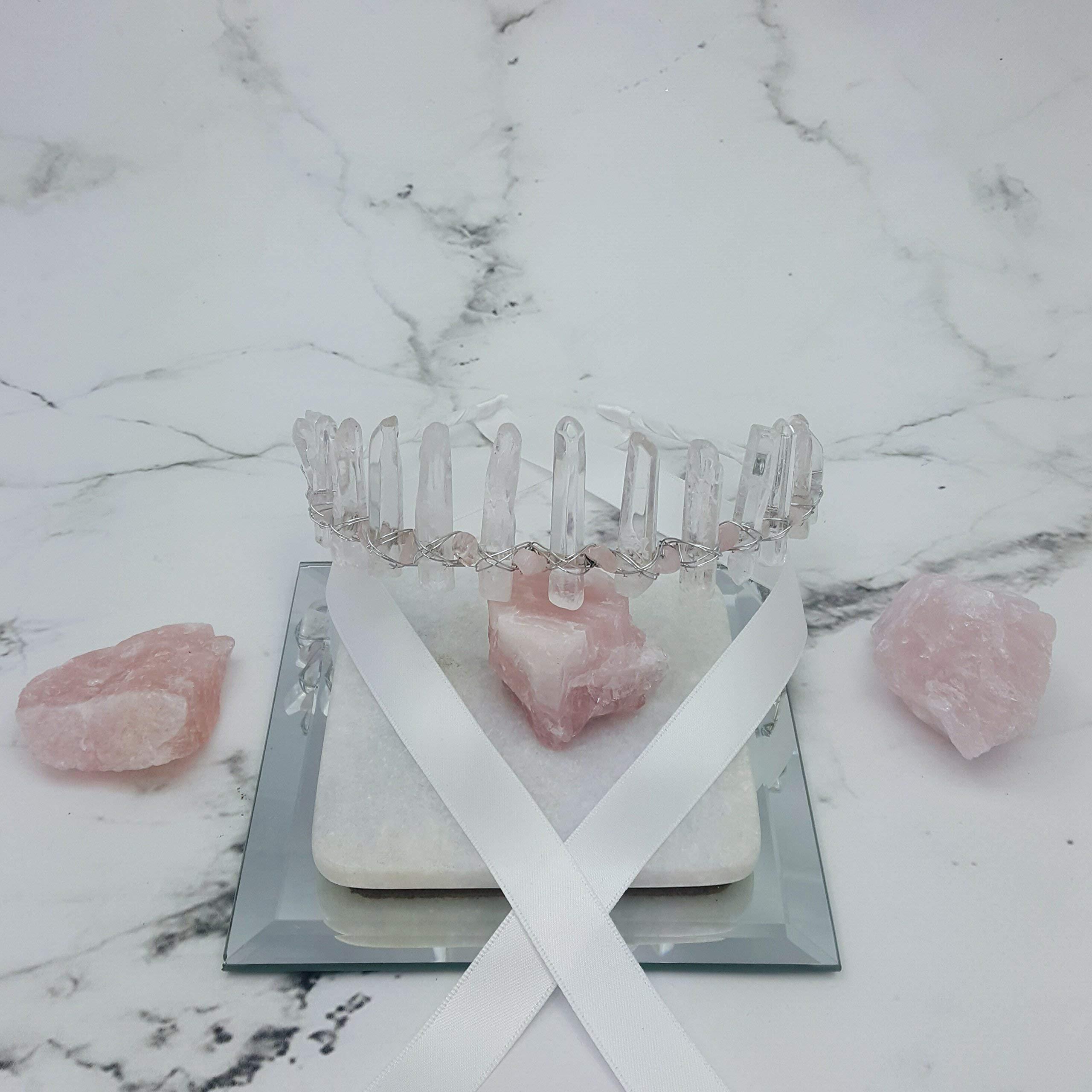 Queen of love quartz and rose quartz crystal crown