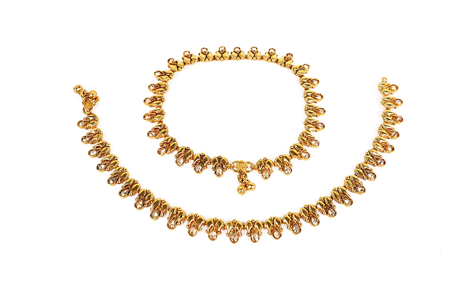 Glint Store Indian Traditional Antique Gold Plated Polki Lct Stone Foot Anklet Set