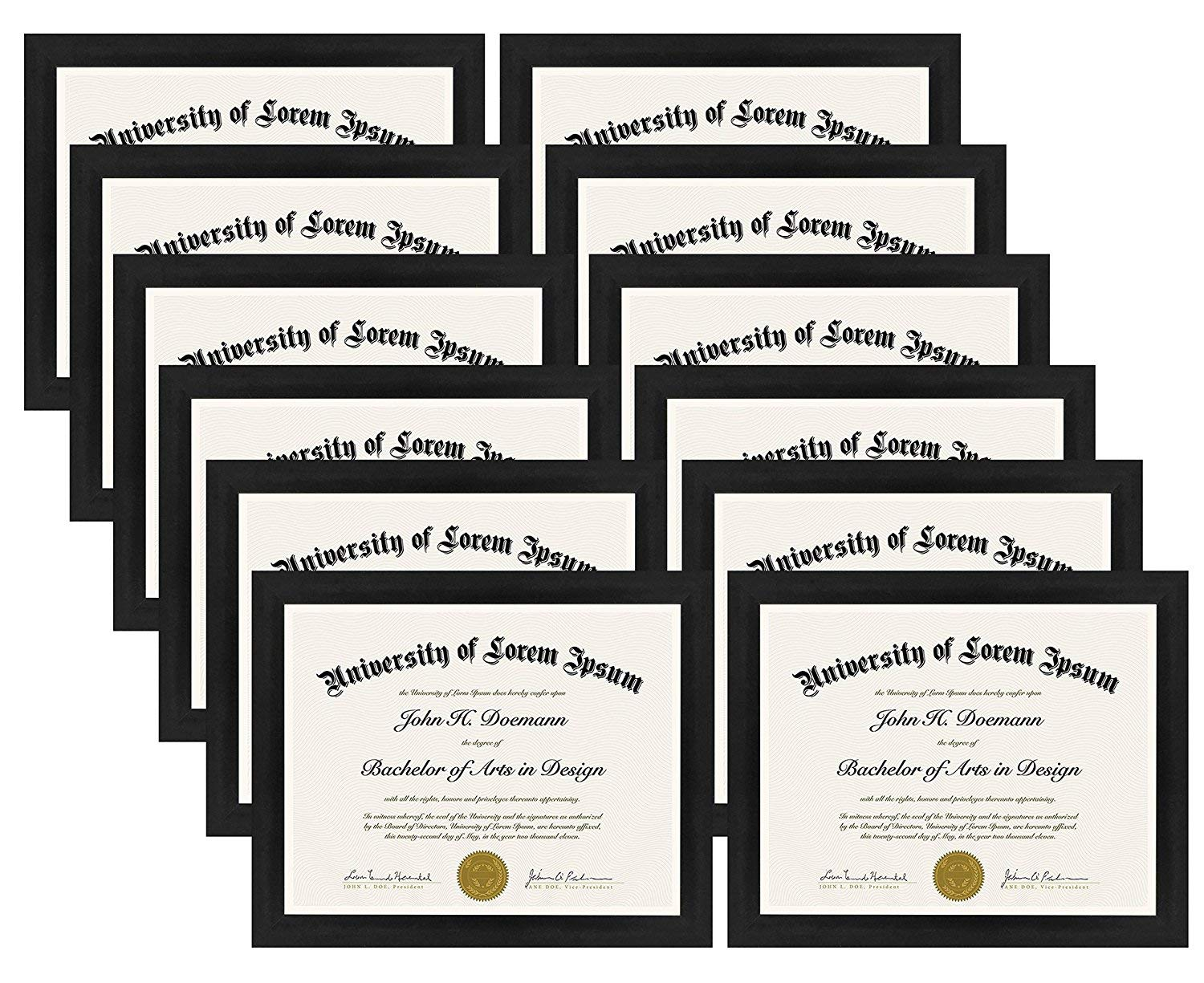 Hanging Hardware Included! Displays 8.5x11 Documents Americanflat 2 Pack Diploma Frames Shatter-Resistant Glass
