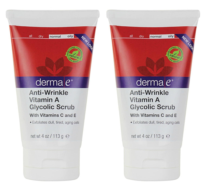 derma e Anti-Wrinkle Vitamin A Glycolic Scrub, 4-Ounce (Pack 2)