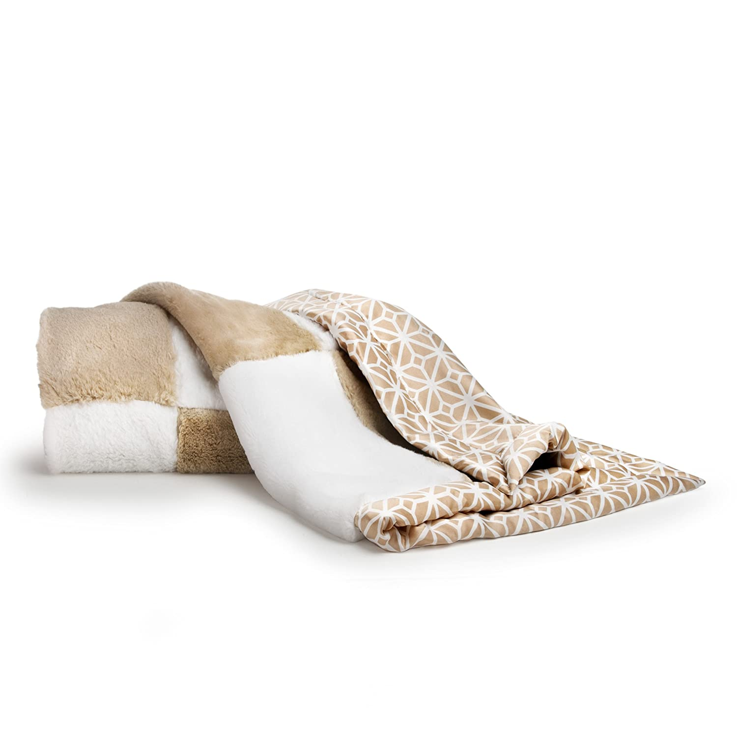 CoCaLo Mix & Match Patchwork Fur Blanket, Silver 7913-046-105-0400