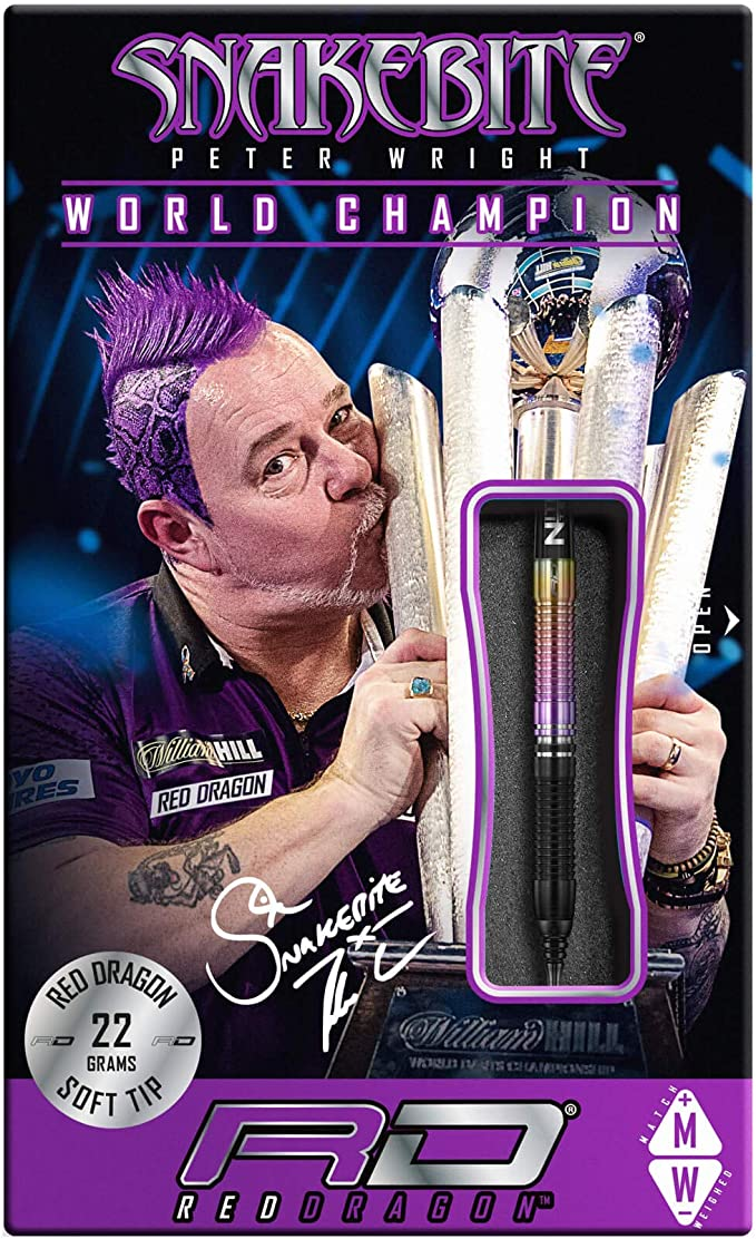 RED DRAGON Peter Wright Snakebite World Champion 2020 Brass Edition including Fl