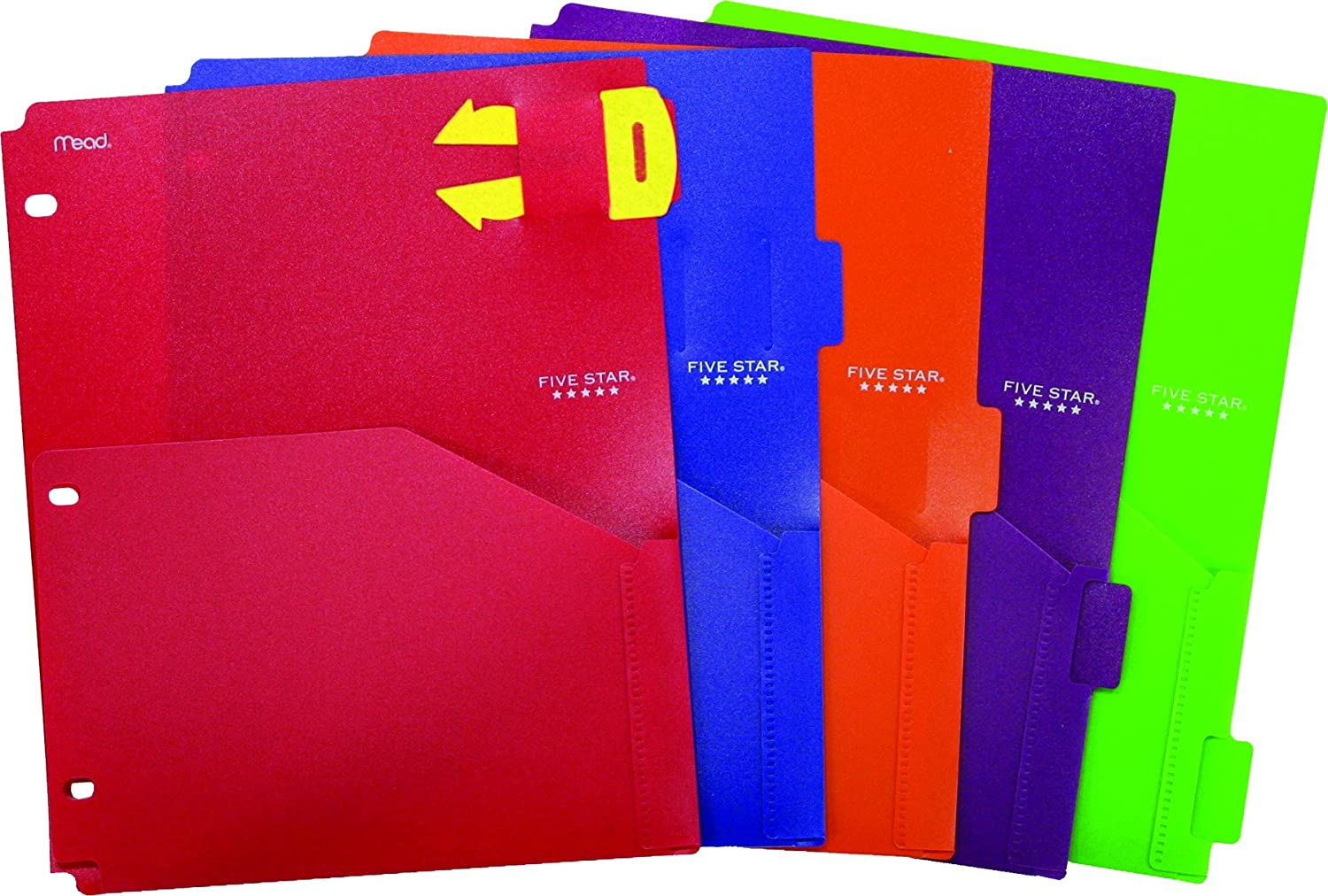 Five Star Poly Pocket Dividers with Pull Out Reminder Tabs, 11-1/2 x 9-3/4 Inches, Pack of 5, Assorted Colors (20058)